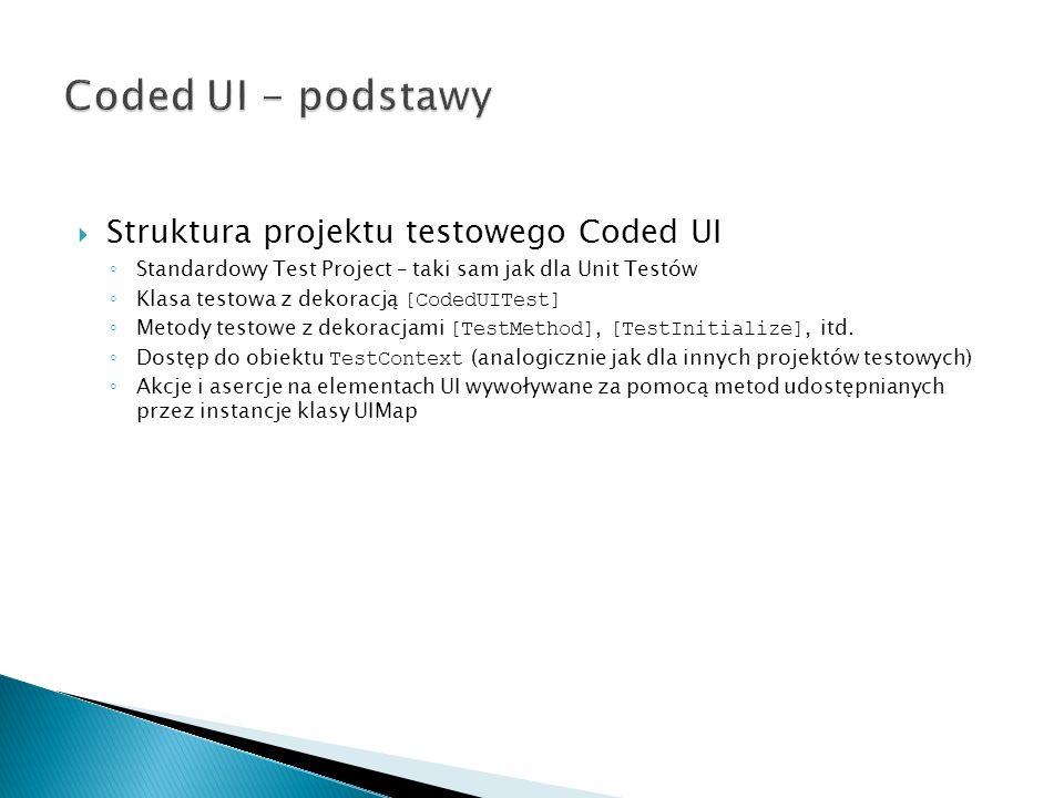 Coded UI - podstawy Struktura projektu testowego Coded UI