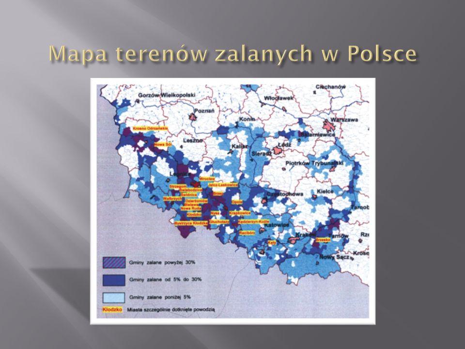 Mapa terenów zalanych w Polsce