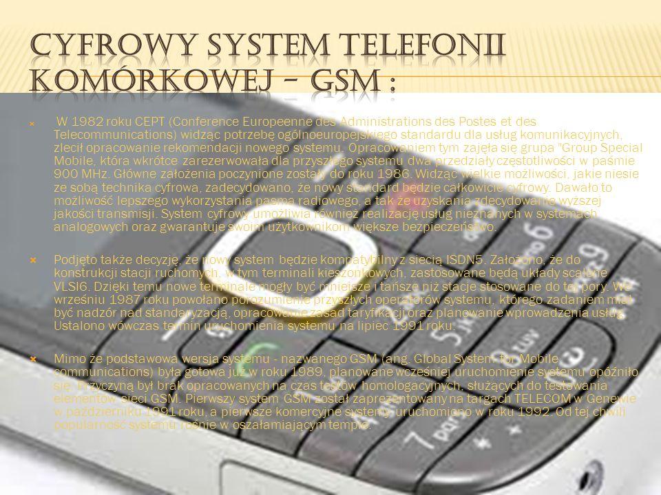 Cyfrowy system telefonii komórkowej - GSM :