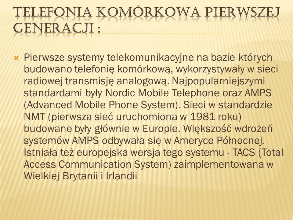 Telefonia komórkowa pierwszej generacji :