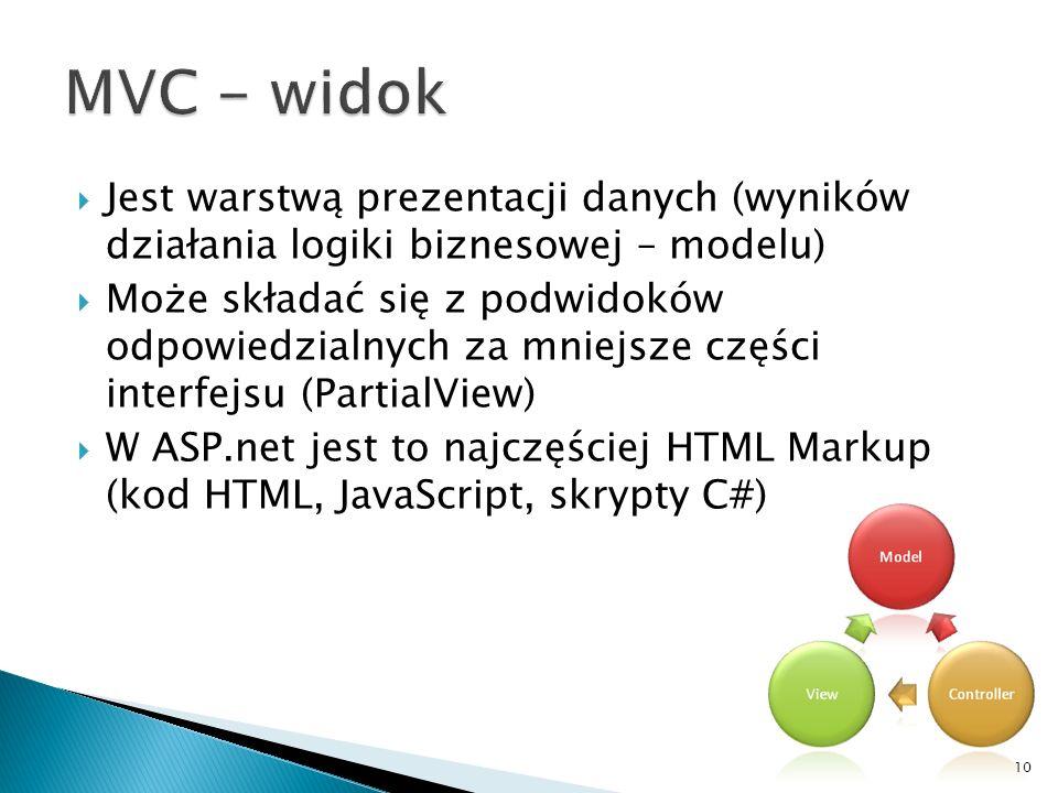 MVC - widok Jest warstwą prezentacji danych (wyników działania logiki biznesowej – modelu)