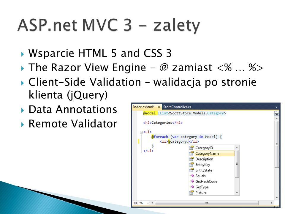 ASP.net MVC 3 - zalety Wsparcie HTML 5 and CSS 3