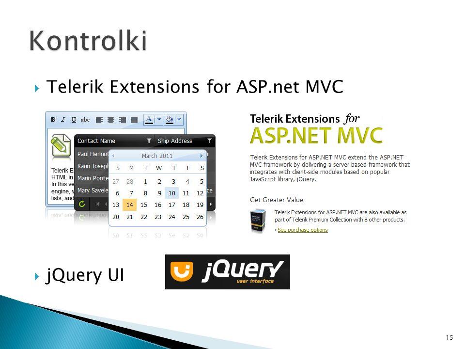 Kontrolki Telerik Extensions for ASP.net MVC jQuery UI