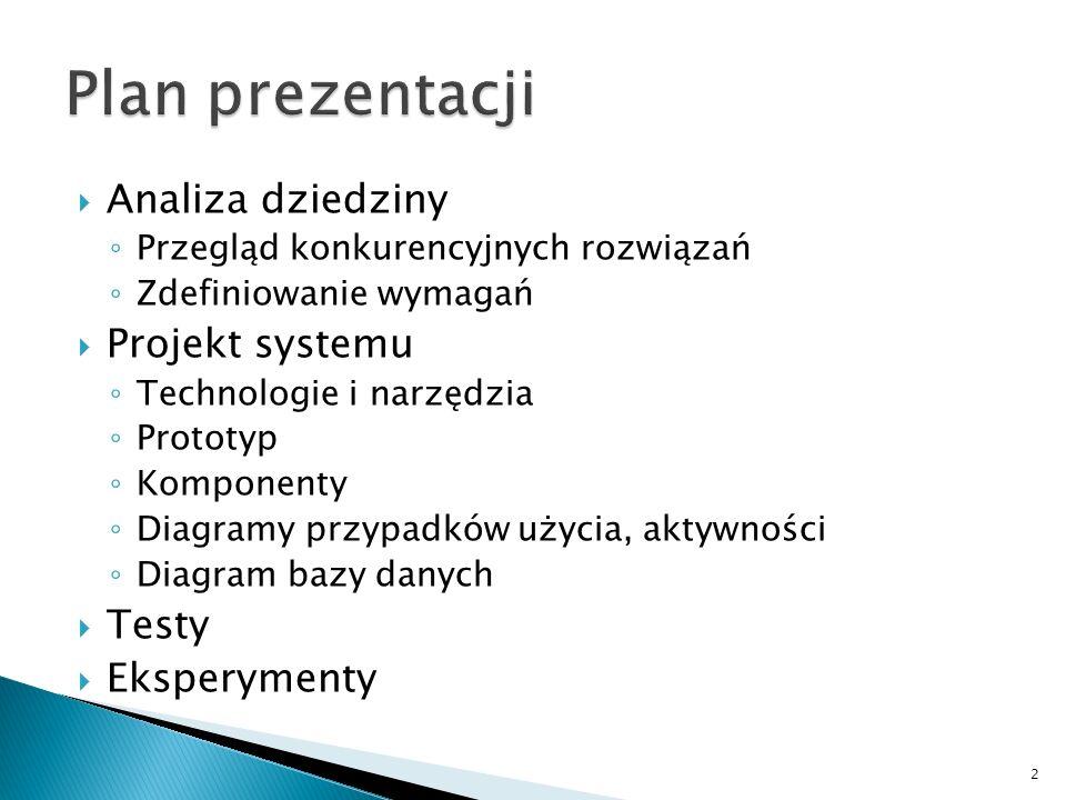 Plan prezentacji Analiza dziedziny Projekt systemu Testy Eksperymenty