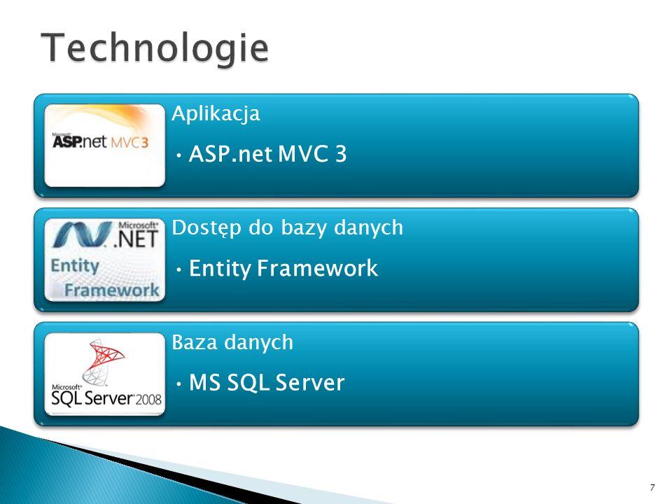 Technologie ASP.net MVC 3 Entity Framework MS SQL Server Aplikacja