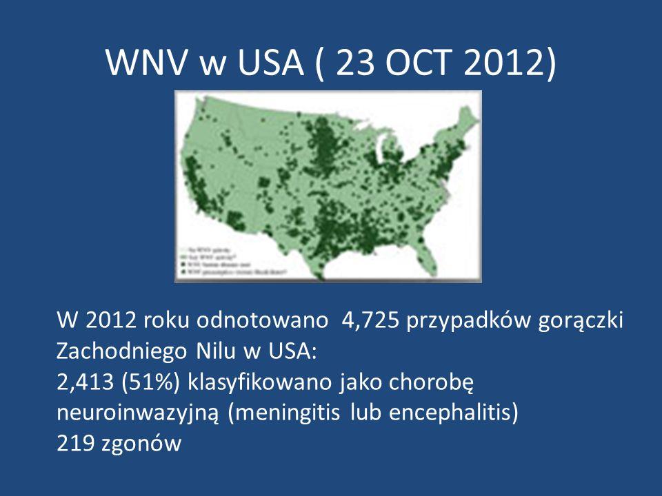 WNV w USA ( 23 OCT 2012) W 2012 roku odnotowano 4,725 przypadków gorączki Zachodniego Nilu w USA: