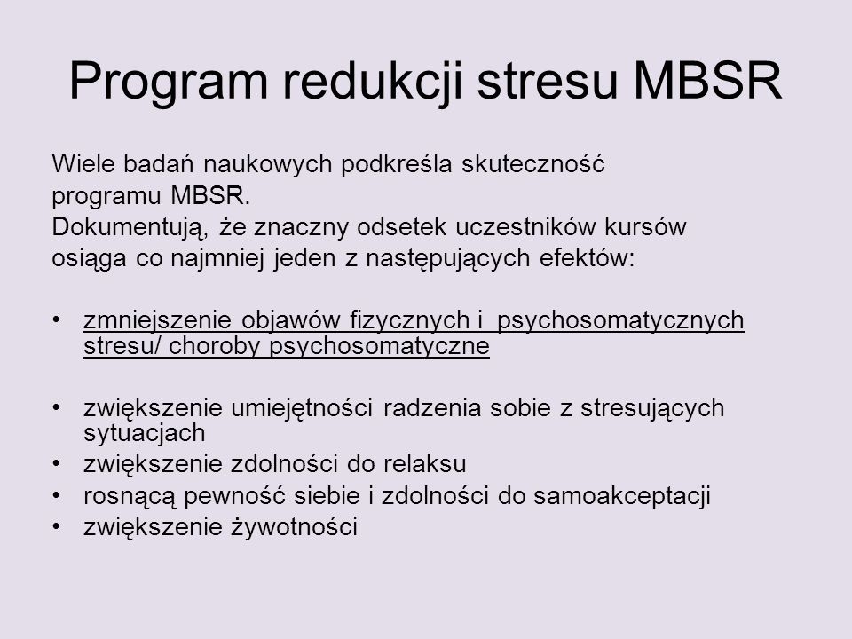 Program redukcji stresu MBSR