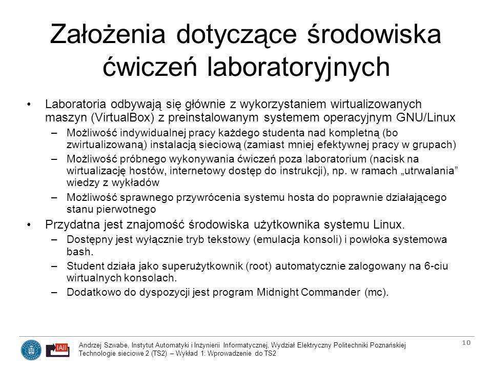 Założenia dotyczące środowiska ćwiczeń laboratoryjnych