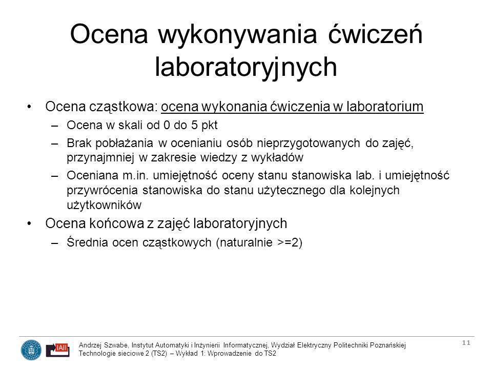 Ocena wykonywania ćwiczeń laboratoryjnych