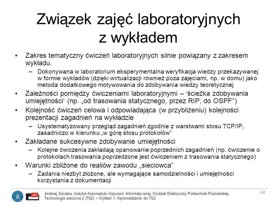 Związek zajęć laboratoryjnych z wykładem