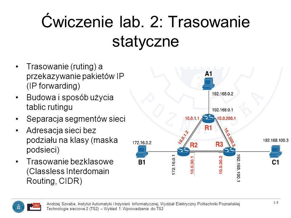Ćwiczenie lab. 2: Trasowanie statyczne
