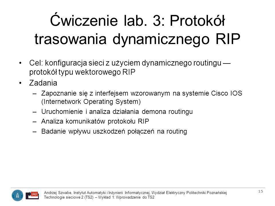 Ćwiczenie lab. 3: Protokół trasowania dynamicznego RIP