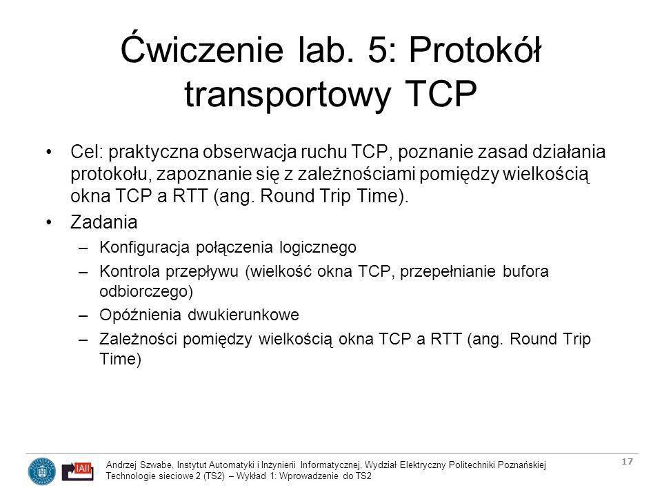 Ćwiczenie lab. 5: Protokół transportowy TCP