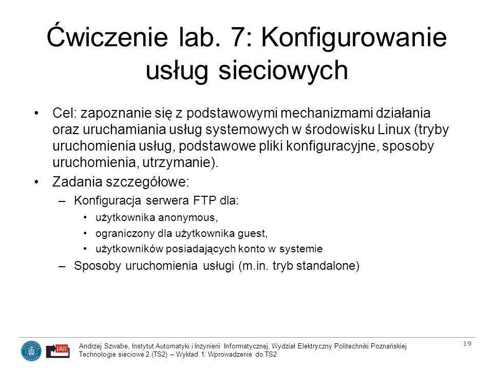 Ćwiczenie lab. 7: Konfigurowanie usług sieciowych