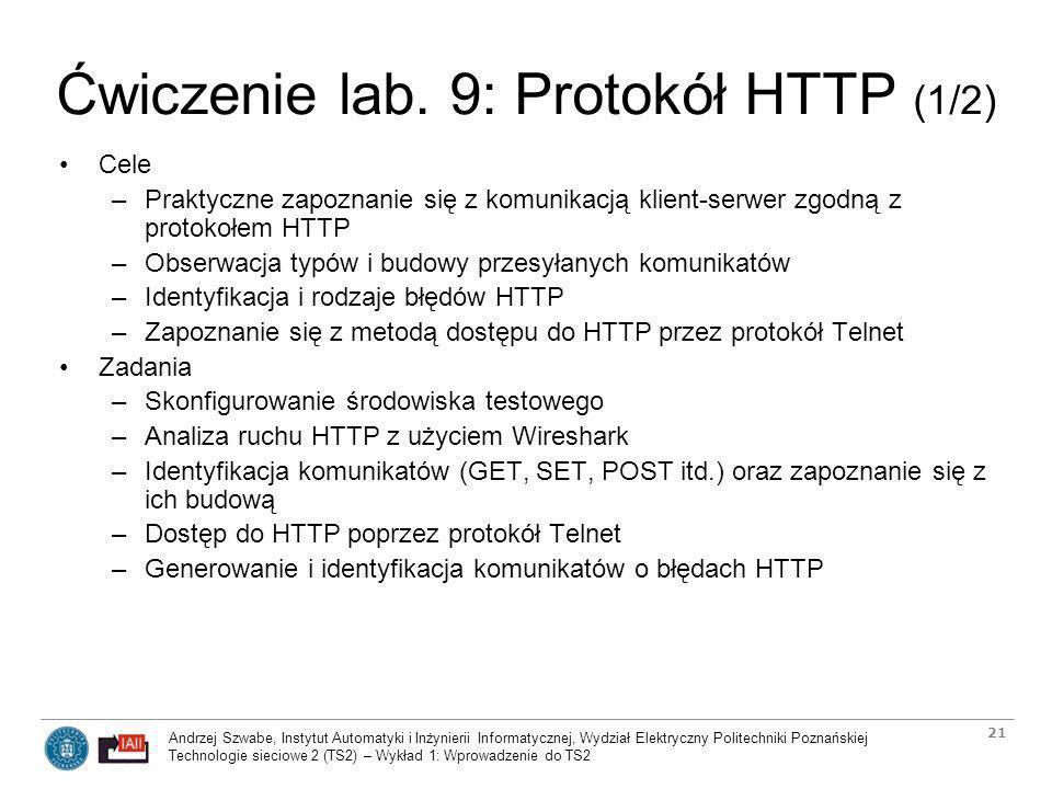 Ćwiczenie lab. 9: Protokół HTTP (1/2)