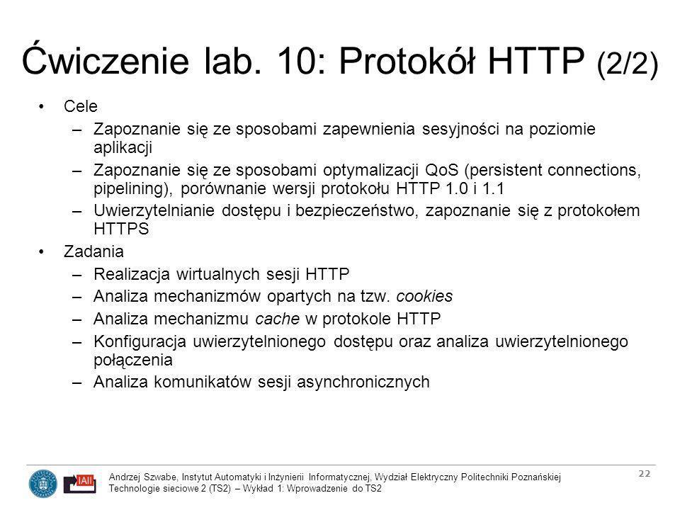 Ćwiczenie lab. 10: Protokół HTTP (2/2)