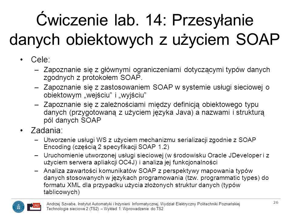 Ćwiczenie lab. 14: Przesyłanie danych obiektowych z użyciem SOAP