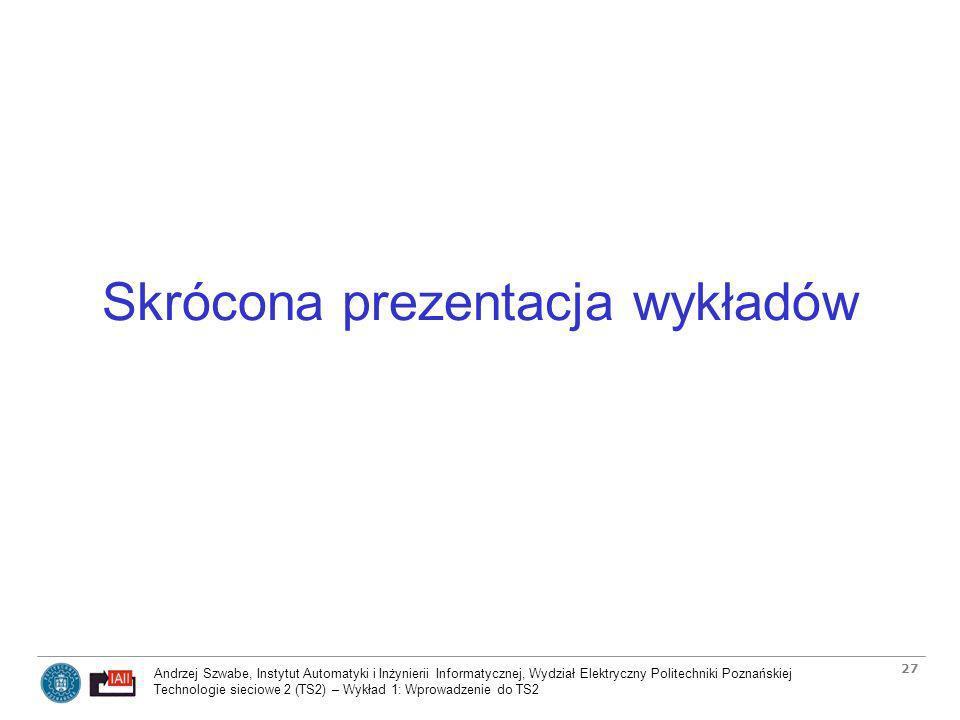 Skrócona prezentacja wykładów