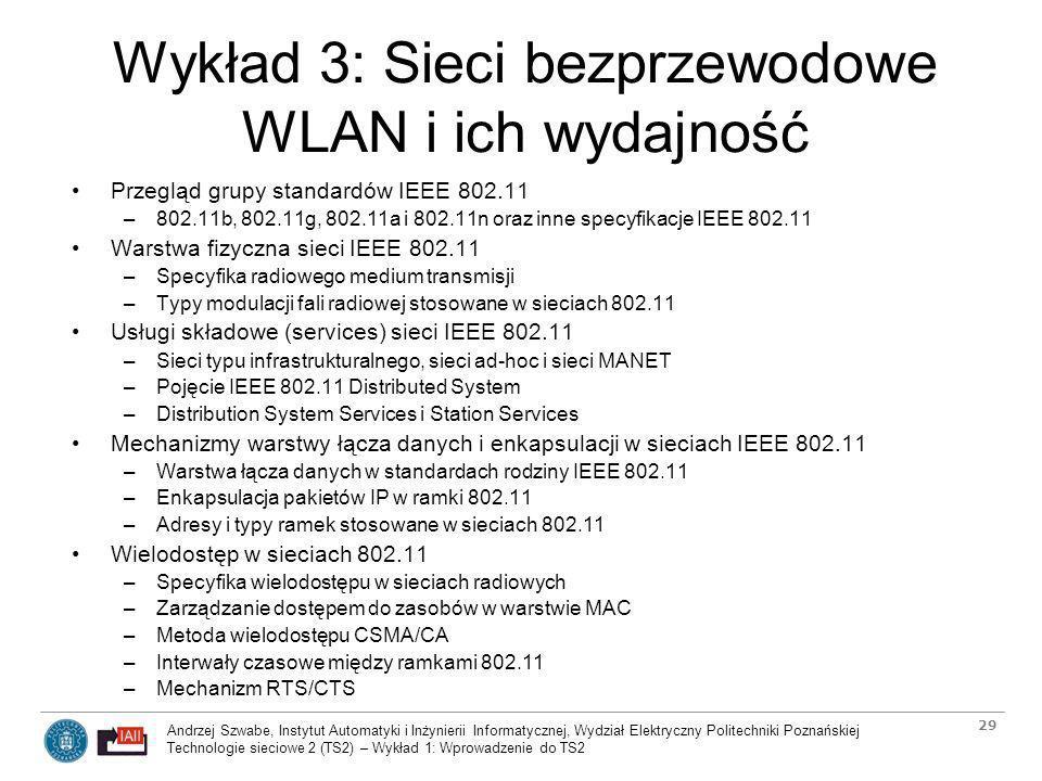 Wykład 3: Sieci bezprzewodowe WLAN i ich wydajność