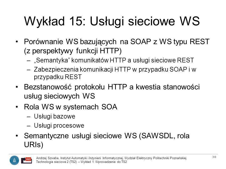 Wykład 15: Usługi sieciowe WS