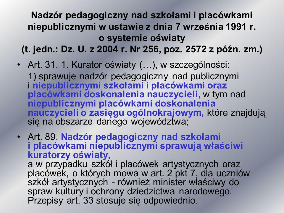 Nadzór pedagogiczny nad szkołami i placówkami niepublicznymi w ustawie z dnia 7 września 1991 r. o systemie oświaty (t. jedn.: Dz. U. z 2004 r. Nr 256, poz. 2572 z późn. zm.)