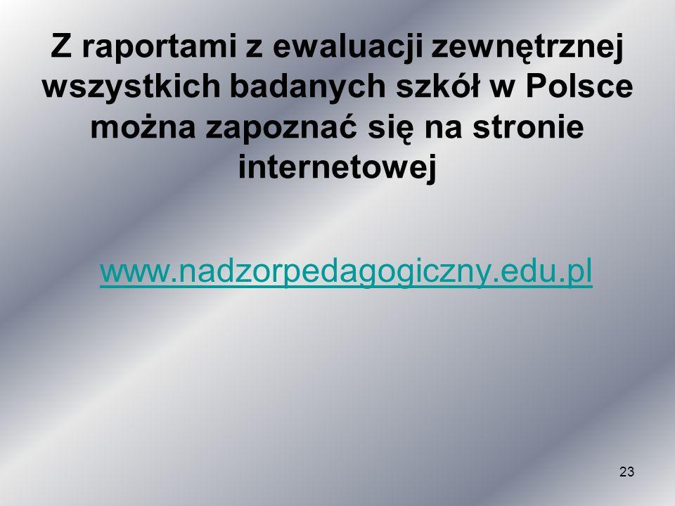 Z raportami z ewaluacji zewnętrznej wszystkich badanych szkół w Polsce można zapoznać się na stronie internetowej
