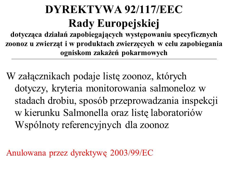DYREKTYWA 92/117/EEC Rady Europejskiej dotycząca działań zapobiegających występowaniu specyficznych zoonoz u zwierząt i w produktach zwierzęcych w celu zapobiegania ogniskom zakażeń pokarmowych