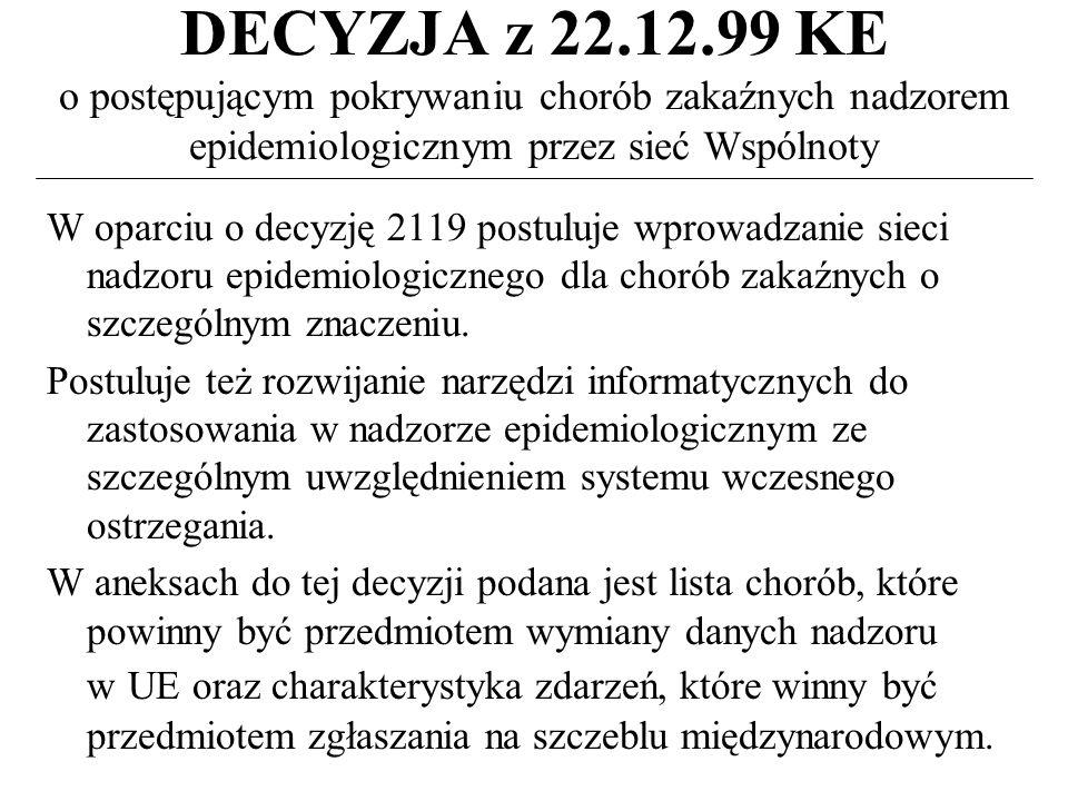 DECYZJA z 22.12.99 KE o postępującym pokrywaniu chorób zakaźnych nadzorem epidemiologicznym przez sieć Wspólnoty