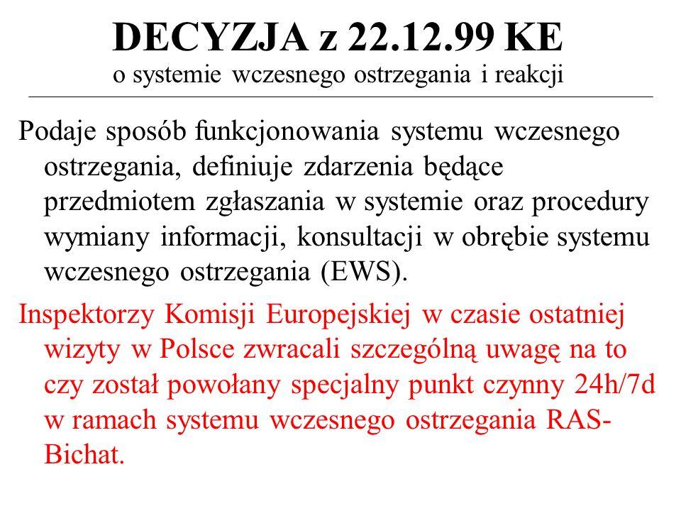 DECYZJA z 22.12.99 KE o systemie wczesnego ostrzegania i reakcji