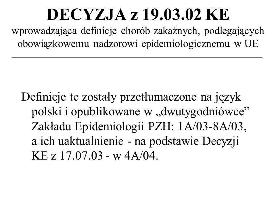 DECYZJA z 19.03.02 KE wprowadzająca definicje chorób zakaźnych, podlegających obowiązkowemu nadzorowi epidemiologicznemu w UE