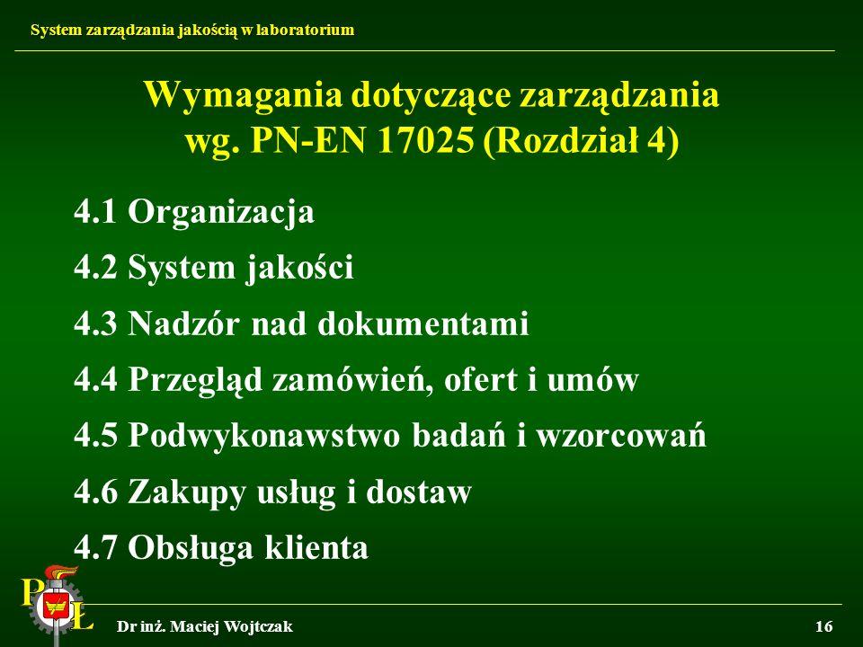 Wymagania dotyczące zarządzania wg. PN-EN 17025 (Rozdział 4)