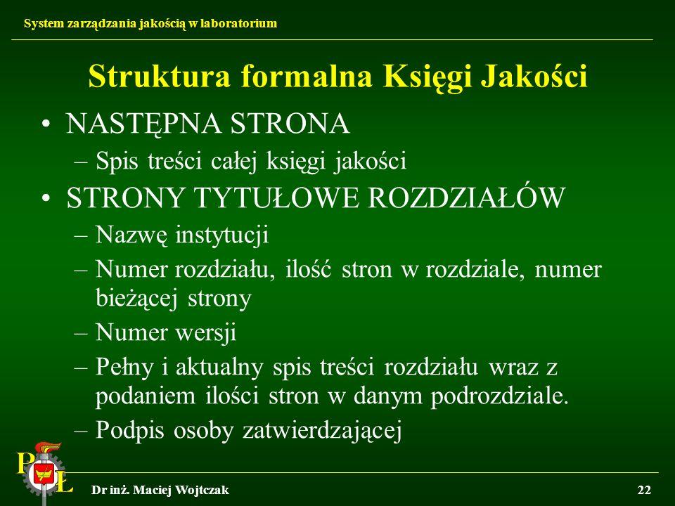 Struktura formalna Księgi Jakości