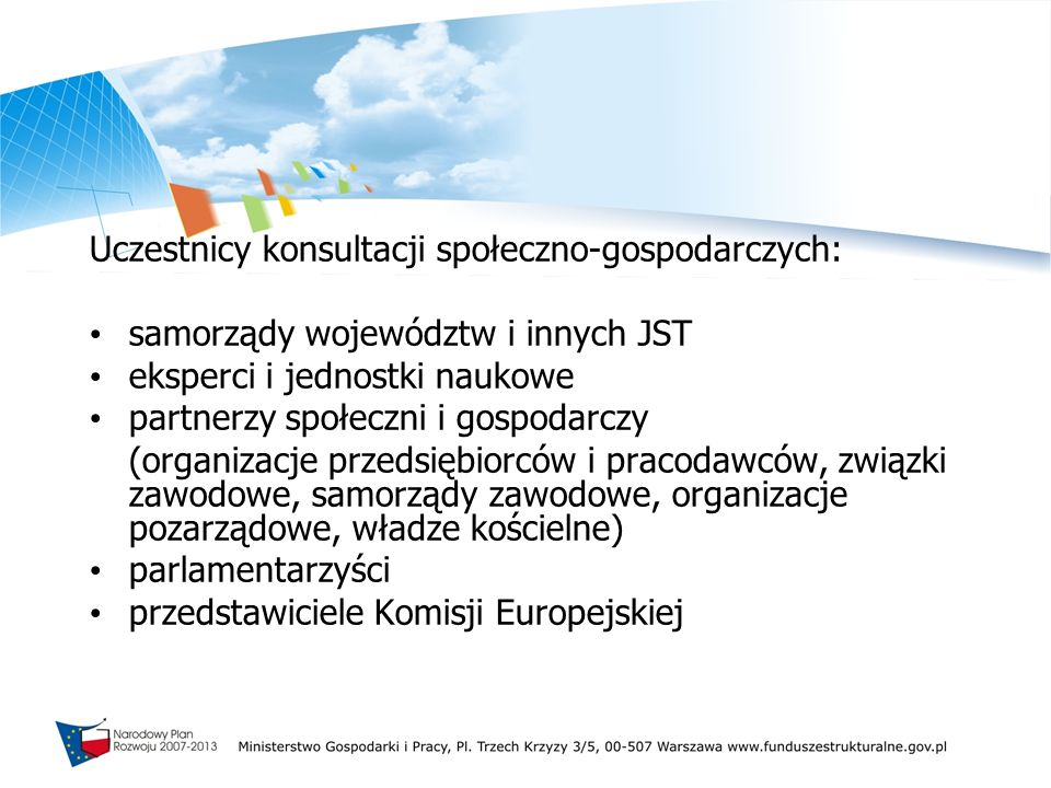 Uczestnicy konsultacji społeczno-gospodarczych: