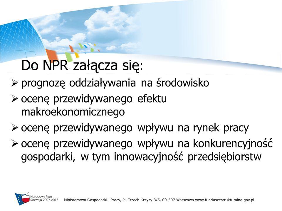 Do NPR załącza się: prognozę oddziaływania na środowisko