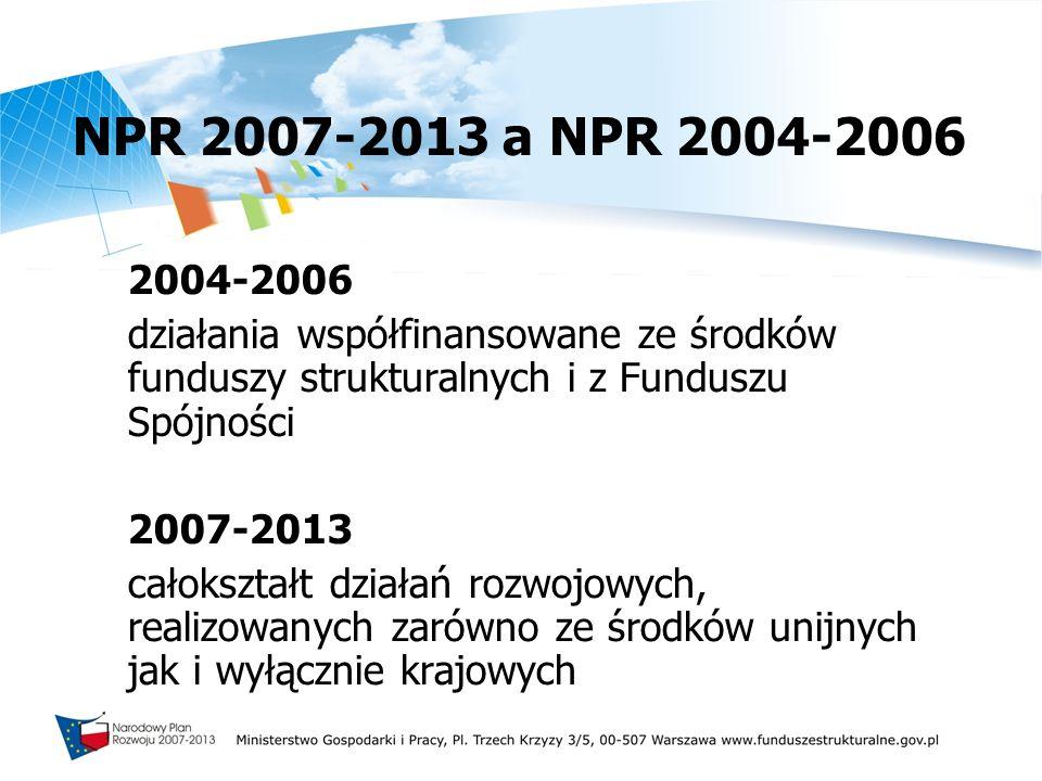 NPR 2007-2013 a NPR 2004-2006 2004-2006. działania współfinansowane ze środków funduszy strukturalnych i z Funduszu Spójności.