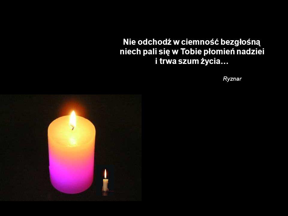 Nie odchodź w ciemność bezgłośną niech pali się w Tobie płomień nadziei i trwa szum życia…