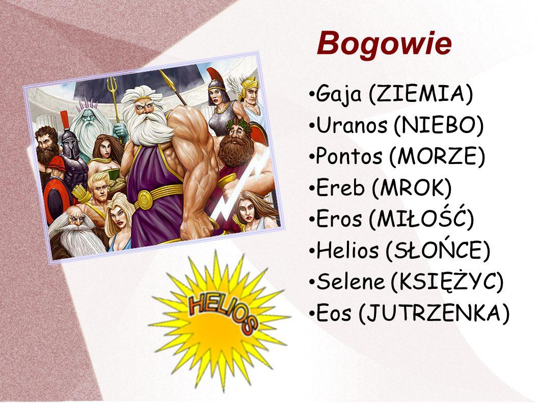 Bogowie Gaja (ZIEMIA) Uranos (NIEBO) Pontos (MORZE) Ereb (MROK)