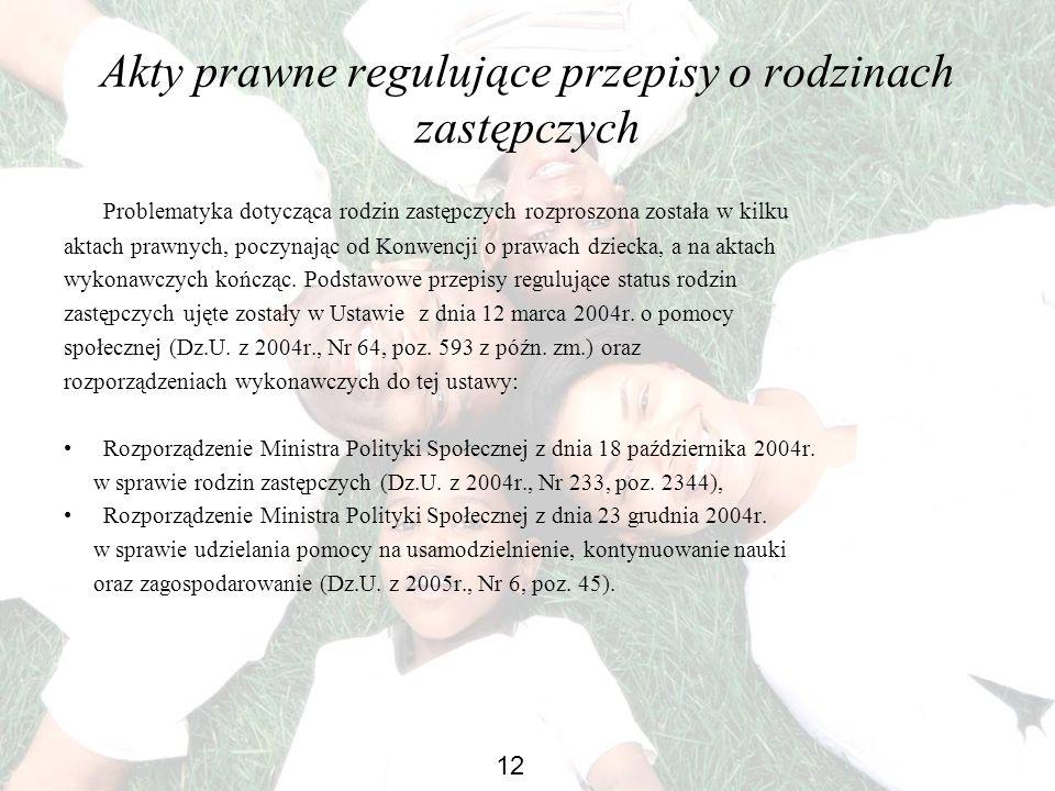 Akty prawne regulujące przepisy o rodzinach zastępczych