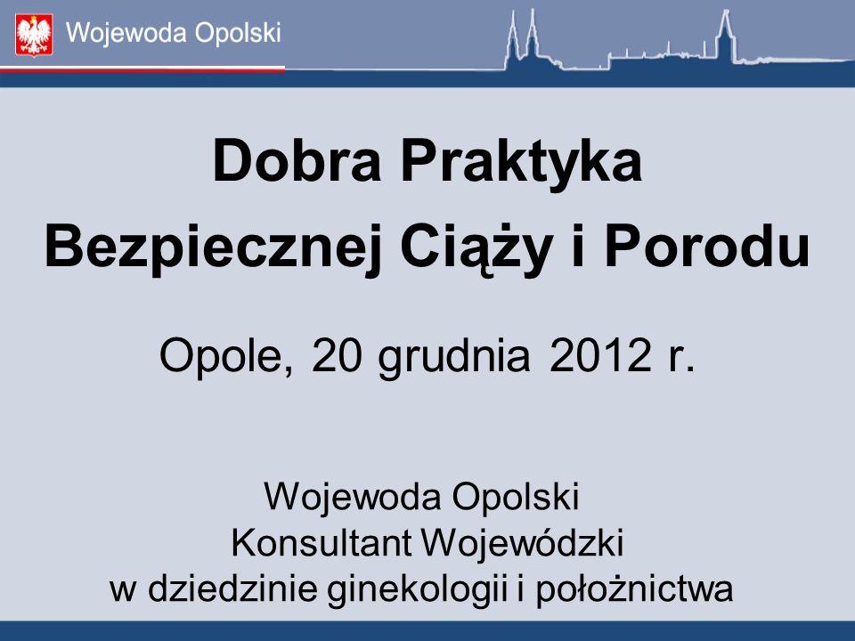 Dobra Praktyka Bezpiecznej Ciąży i Porodu Opole, 20 grudnia 2012 r.