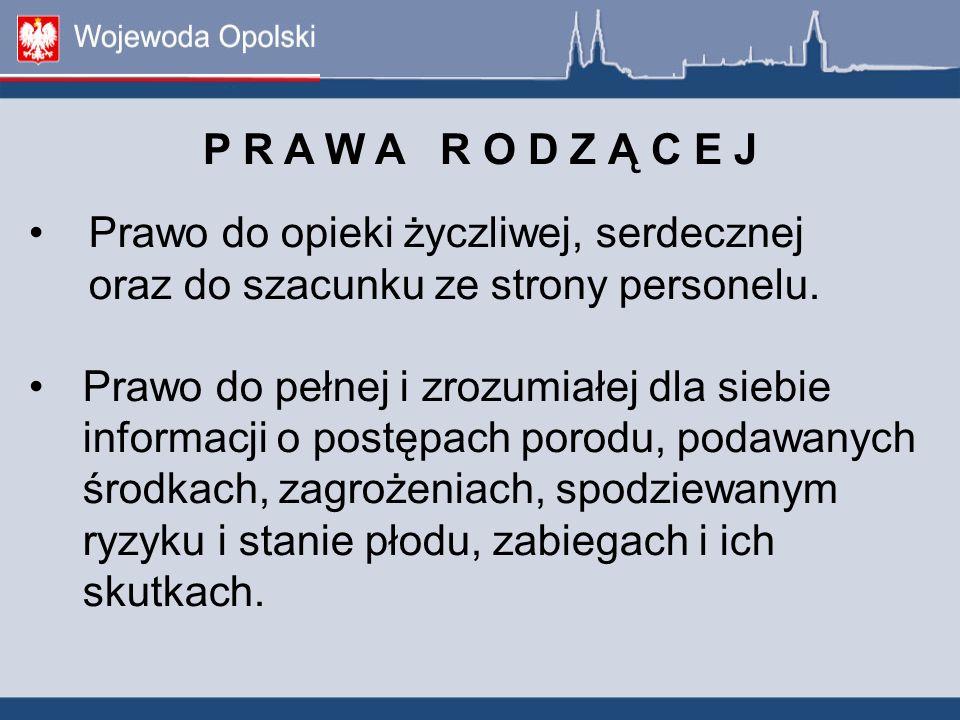 P R A W A R O D Z Ą C E J. Prawo do opieki życzliwej, serdecznej oraz do szacunku ze strony personelu.