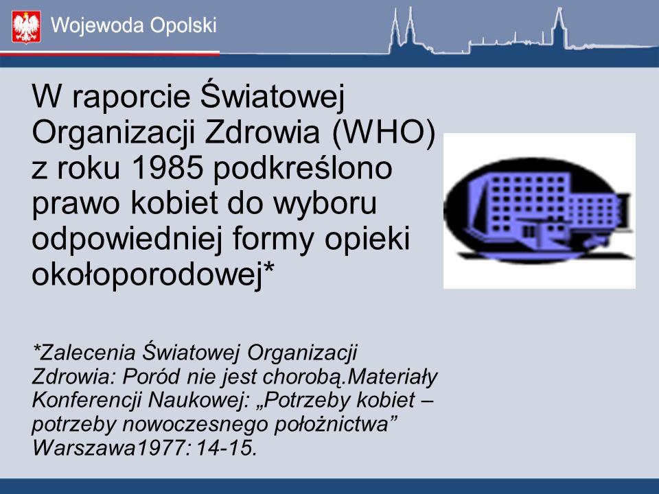 W raporcie Światowej Organizacji Zdrowia (WHO) z roku 1985 podkreślono prawo kobiet do wyboru odpowiedniej formy opieki okołoporodowej*