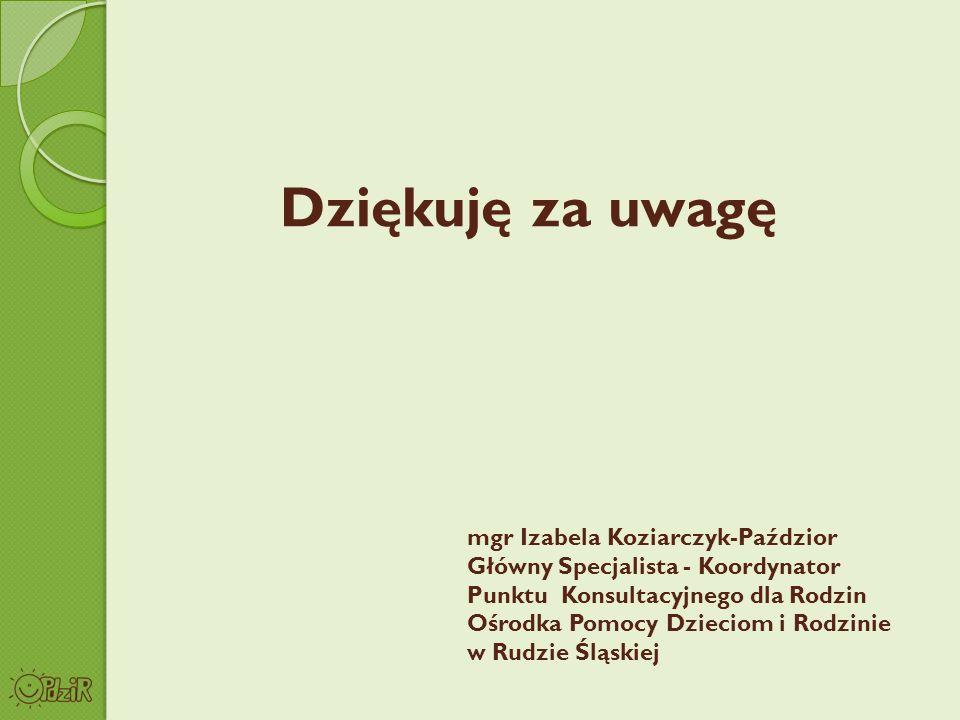 Dziękuję za uwagę mgr Izabela Koziarczyk-Paździor
