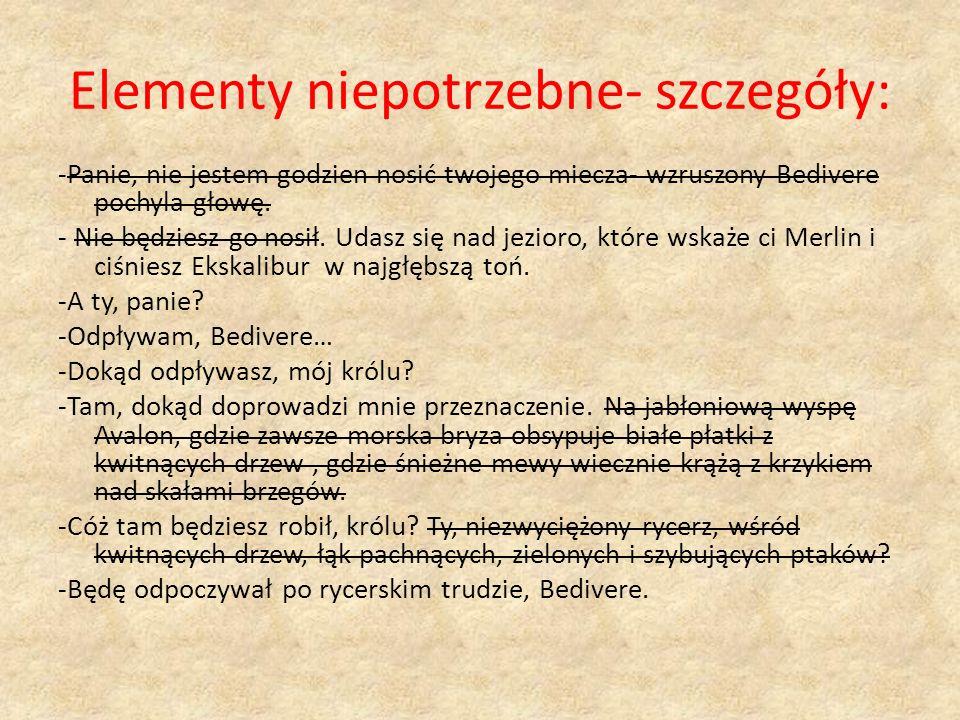Elementy niepotrzebne- szczegóły: