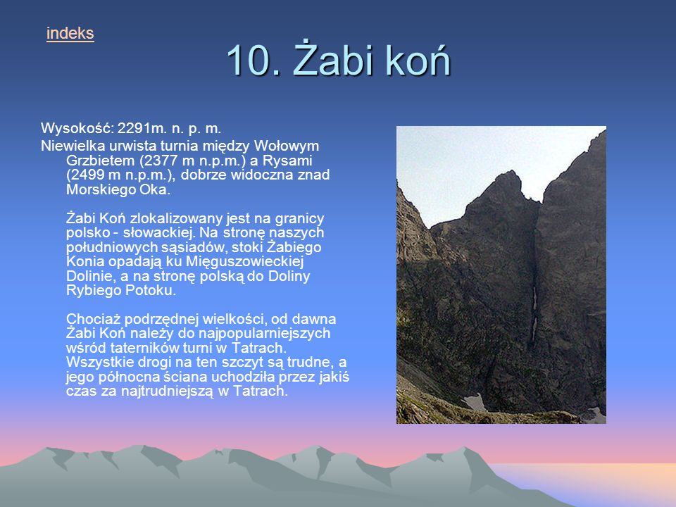 10. Żabi koń indeks Wysokość: 2291m. n. p. m.