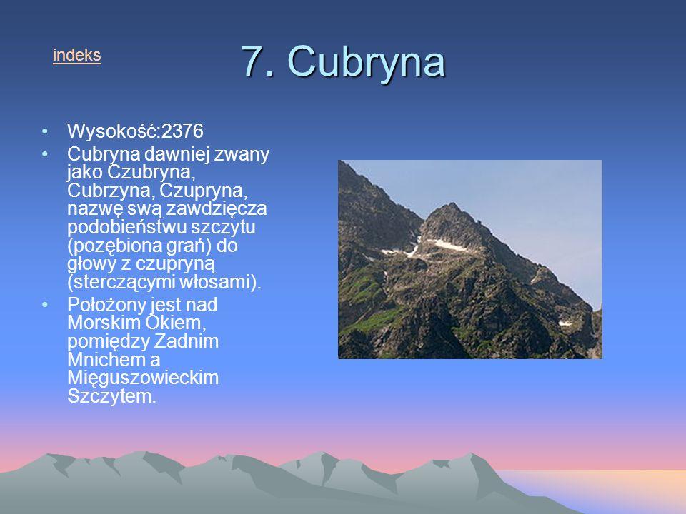 7. Cubryna indeks. Wysokość:2376.