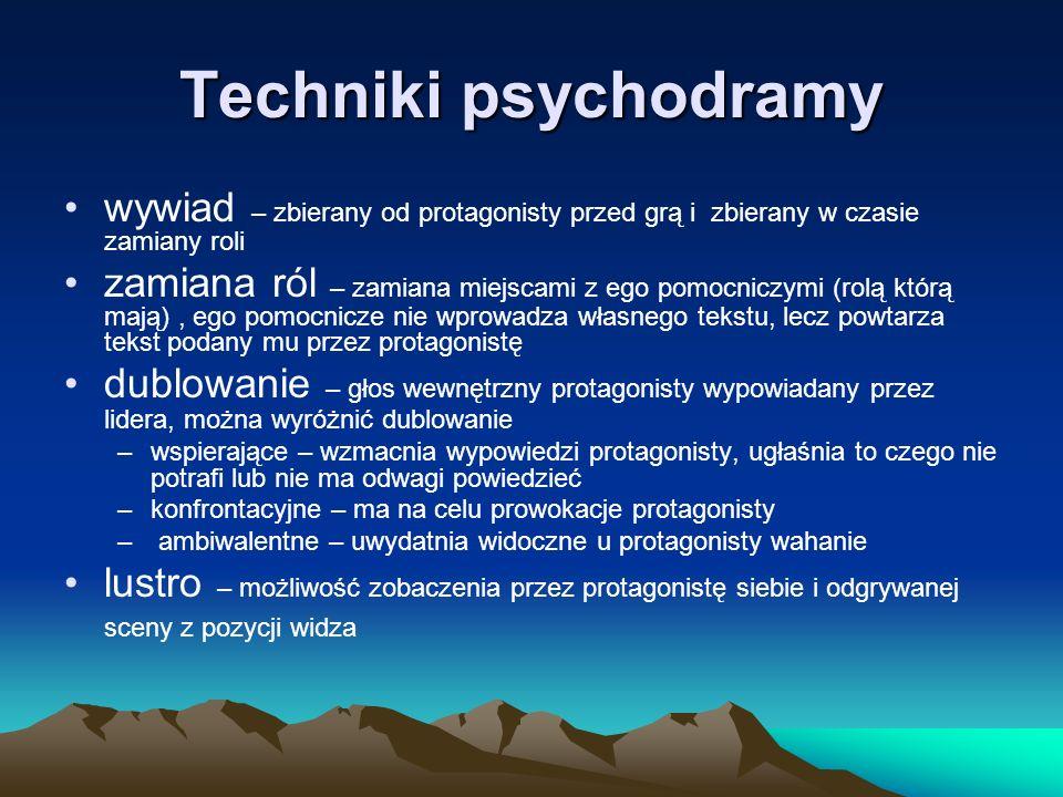 Techniki psychodramy wywiad – zbierany od protagonisty przed grą i zbierany w czasie zamiany roli.