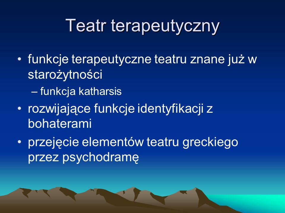 Teatr terapeutyczny funkcje terapeutyczne teatru znane już w starożytności. funkcja katharsis. rozwijające funkcje identyfikacji z bohaterami.