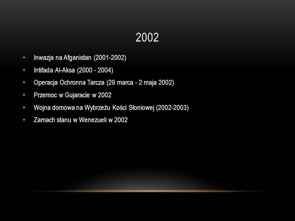 2002 Inwazja na Afganistan (2001-2002) Intifada Al-Aksa (2000 - 2004)