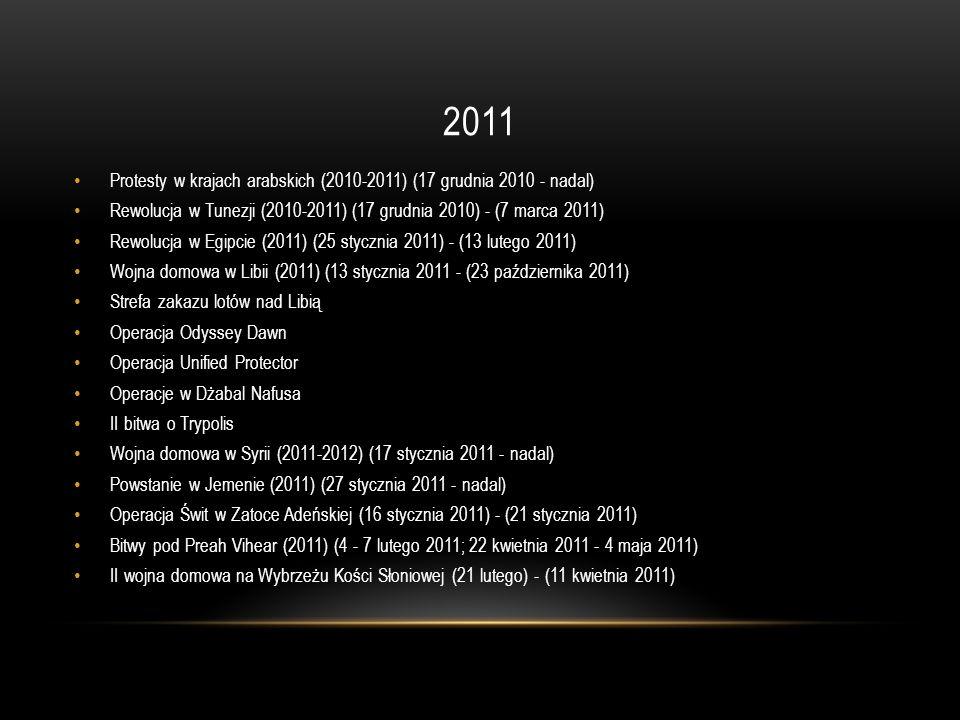 2011 Protesty w krajach arabskich (2010-2011) (17 grudnia 2010 - nadal) Rewolucja w Tunezji (2010-2011) (17 grudnia 2010) - (7 marca 2011)