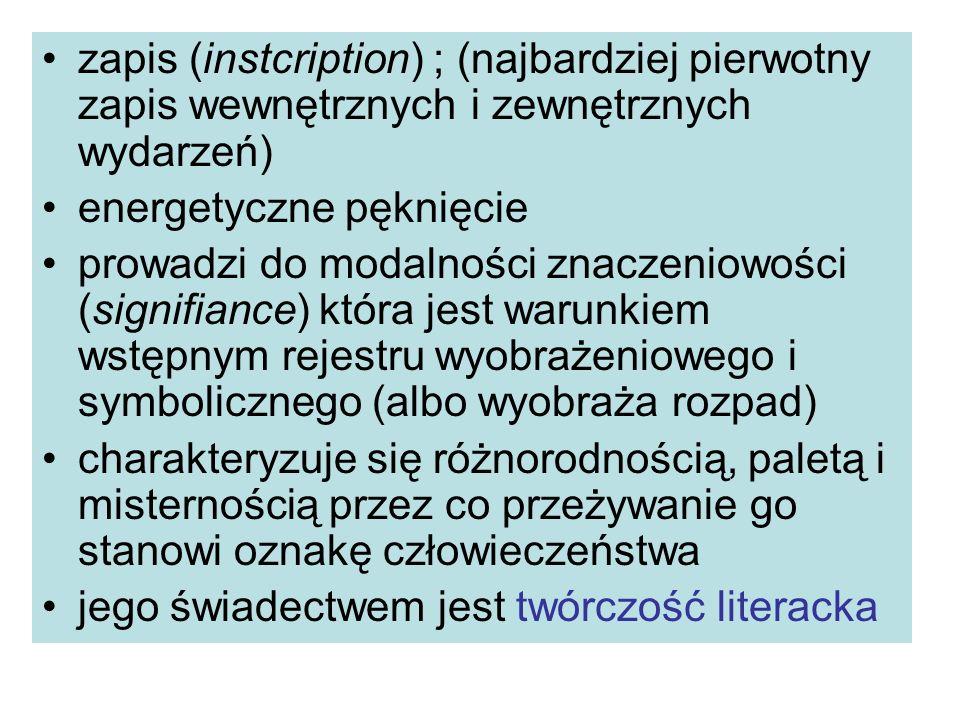 zapis (instcription) ; (najbardziej pierwotny zapis wewnętrznych i zewnętrznych wydarzeń)